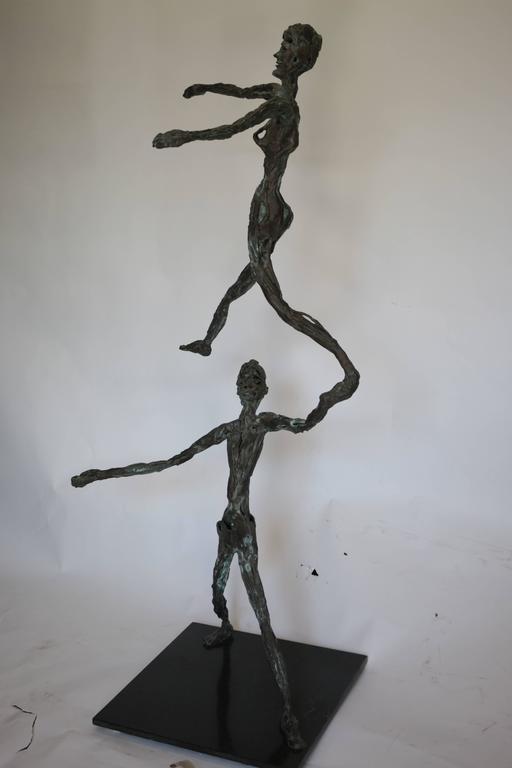 Late 20th Century Large Mid-Century Modern Figurative Brutalist Bronze Sculpture For Sale