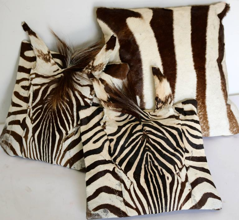 Real Animal Skin Pillows : Set of Three Authentic Zebra Skin Pillows For Sale at 1stdibs