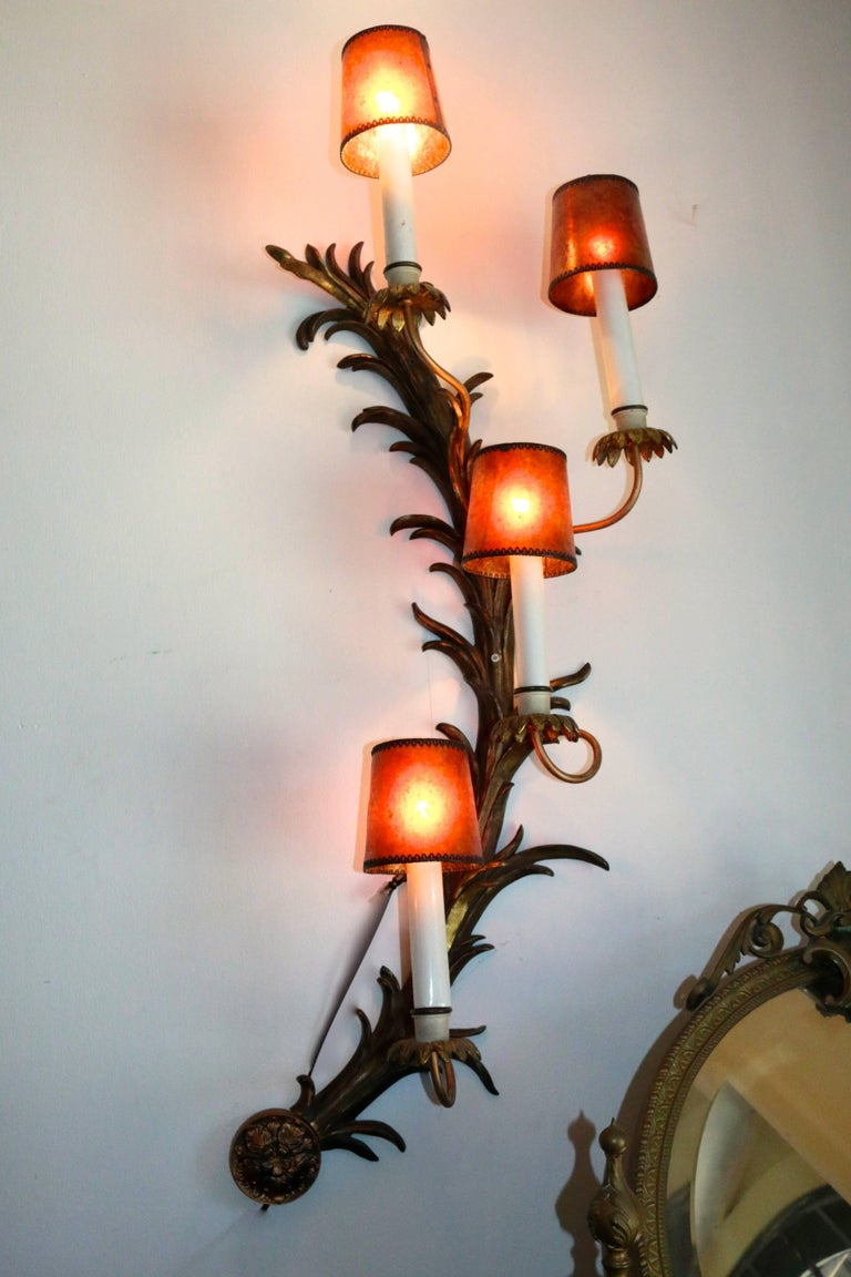 20th Century Monumental French Antique Rococo Bronze Half Moon Sconces For Sale