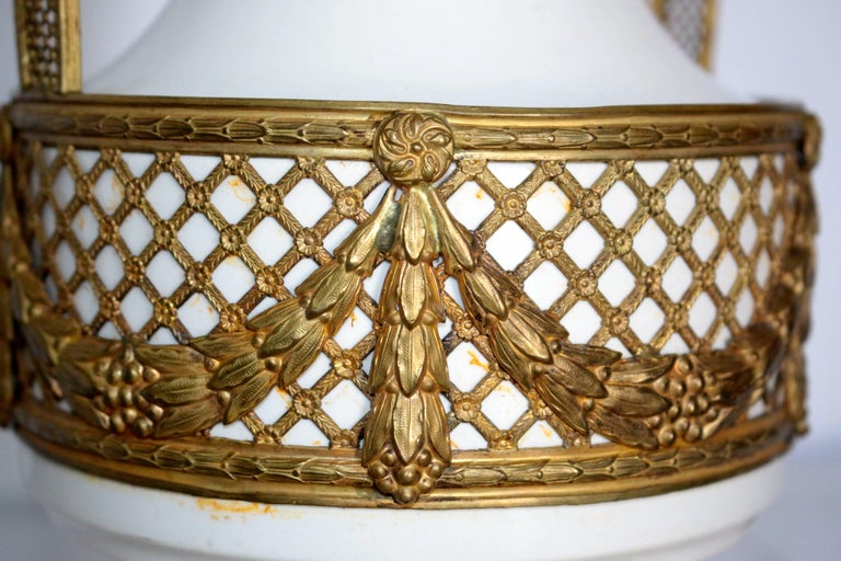 This Amazing 19th century French vase is stunning. The removable bronze trim has an intricate design that goes down to the smallest detail in the trim. From the ivy with the ribbons to the gilt frame fence. This beautiful vase can lighten up and