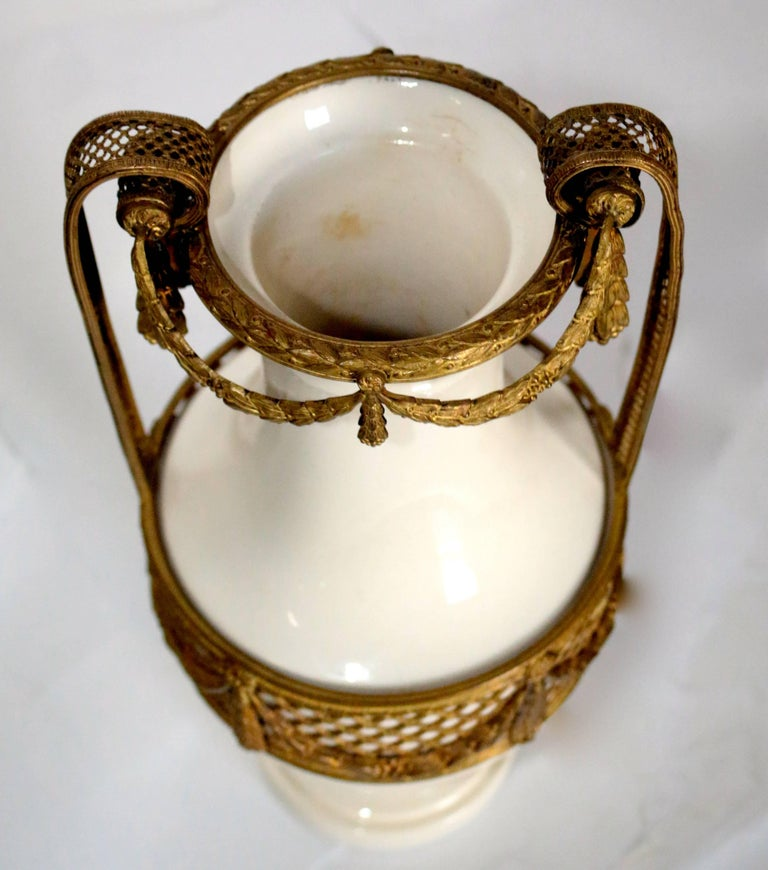19th Century French Porcelain Vase with Bronze Trim Dress For Sale 3