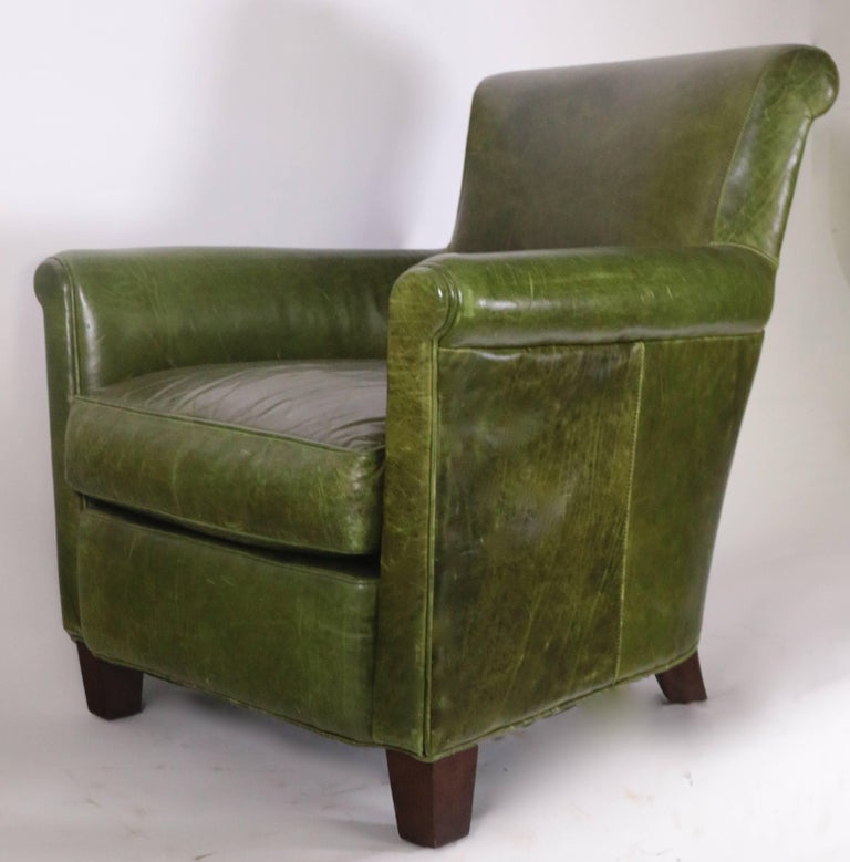 Antique French Distressed Emerald Green Leather Club Chair