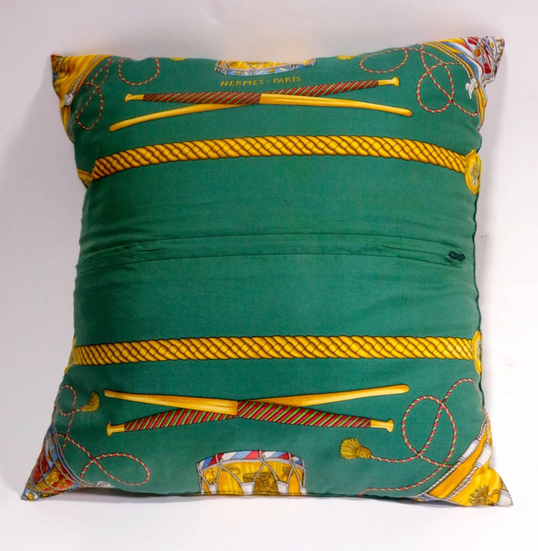 Contemporary Set of Three Authentic Hermes Two Side Silk Cushion Pillows For Sale