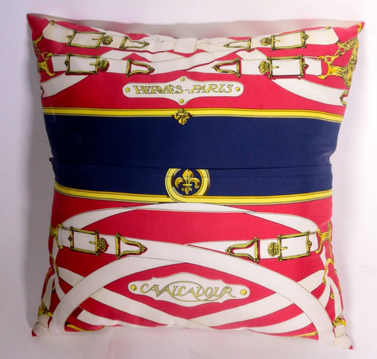 Set of Three Authentic Hermes Two Side Silk Cushion Pillows For Sale 1