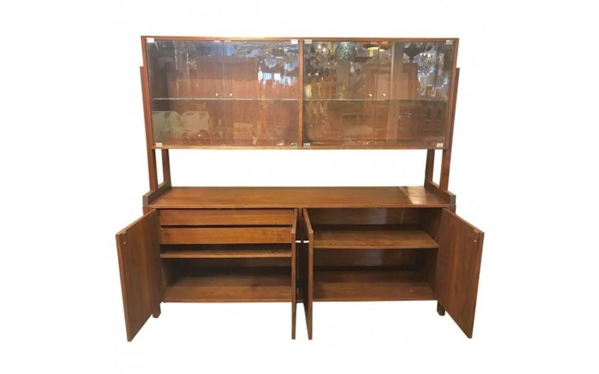 Danish Credenza Hutch : Danish teak tambour credenza with bookcase hutch mid century
