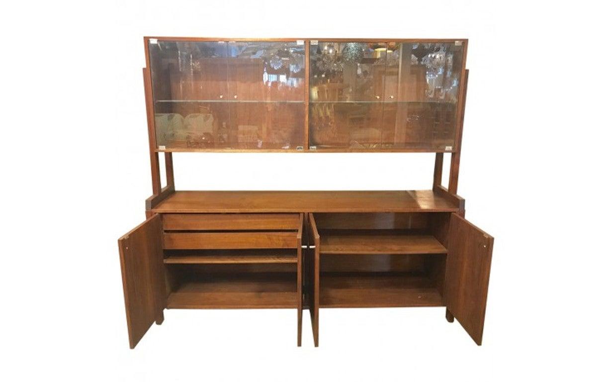 Danish Credenza Hutch : Danish teak tambour credenza with bookcase hutch mid century modern