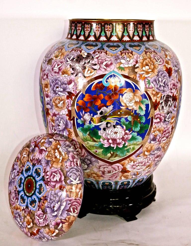 Cloisonne Japanese Brass Enameled Vase With Rosewood Vase At 1stdibs