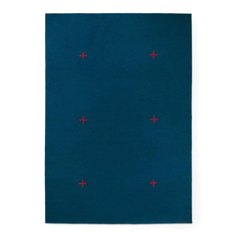 Modern Dhurrie Kilim Rug In Swedish Design Plus Blue Red