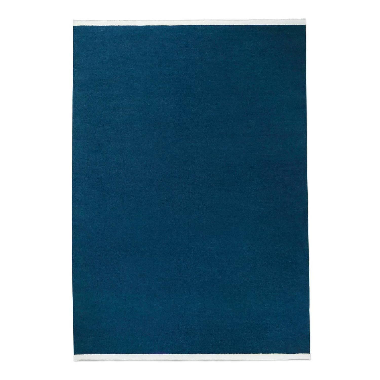 Modern Dhurrie Kilim Rug In Swedish Design Solid Blue