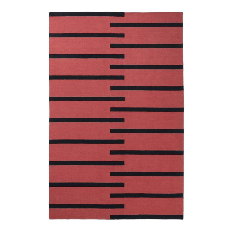 Modern Dhurrie Kilim Rug In Swedish Design Tiger Red