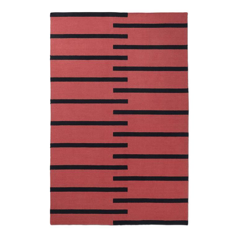 Modern Dhurrie Kilim Rug In Swedish Design Tiger Red