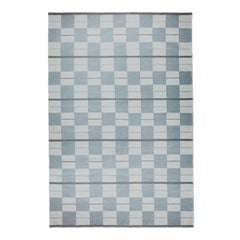 Bastad Blue, Modern Dhurrie or Kilim Rug in Scandinavian Design