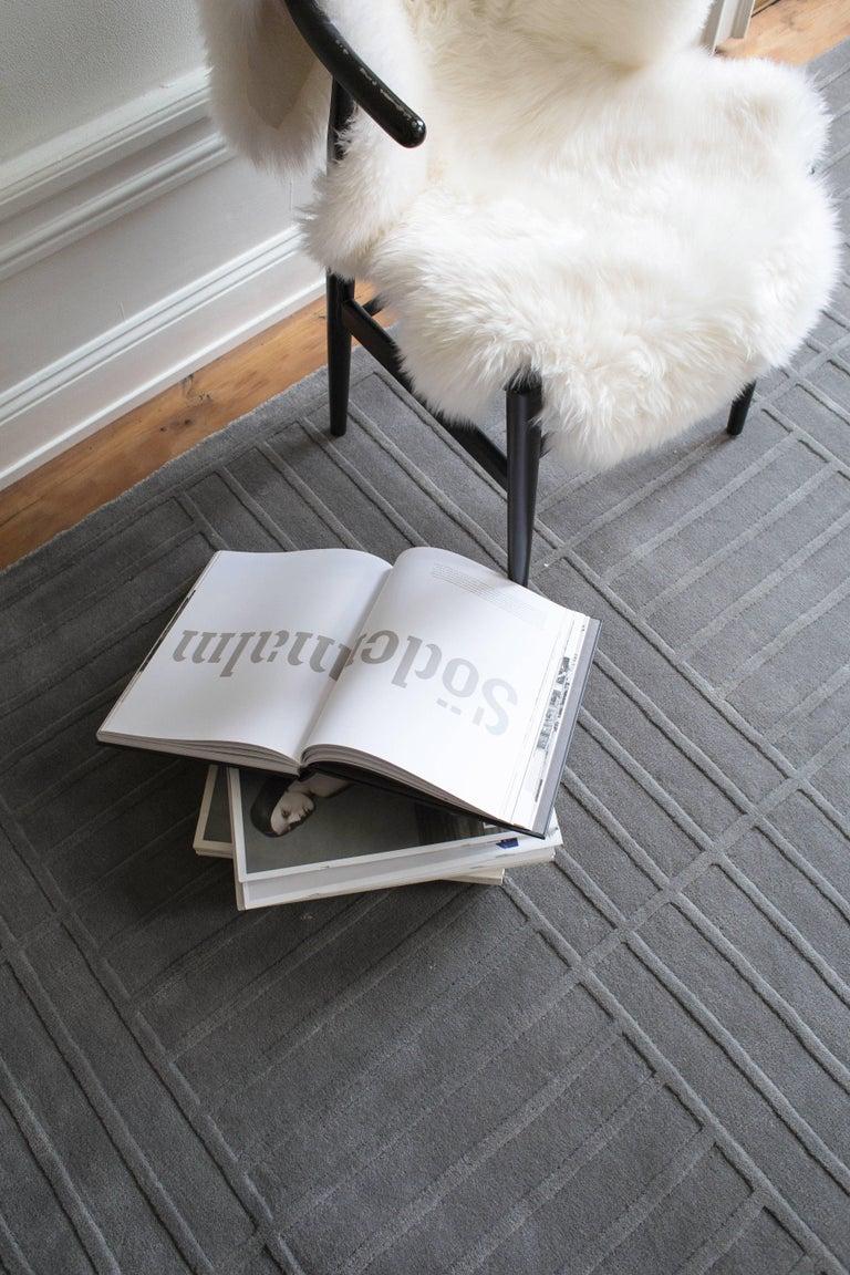 Modern Lux 1 Gray, Wool Cut Pile Rug in Scandinavian Design For Sale