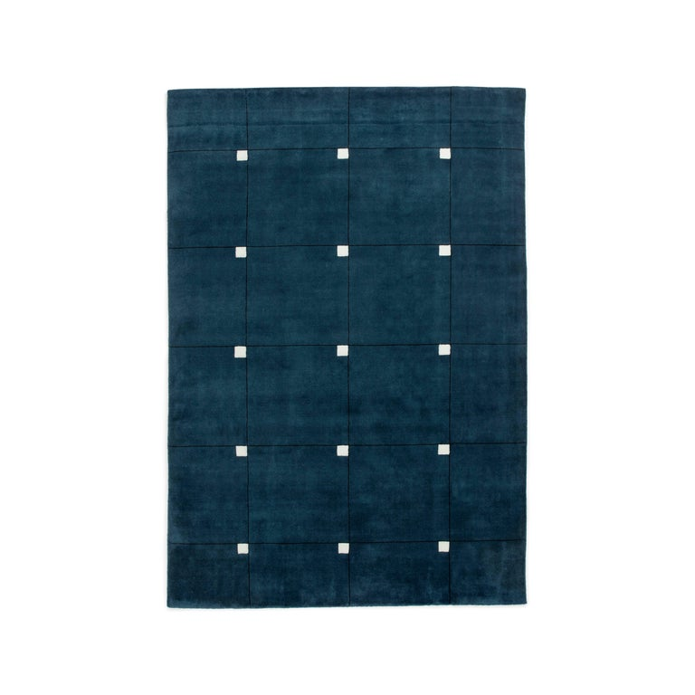 Modern Teal Wool Cut Pile Rug In Scandinavian Design For