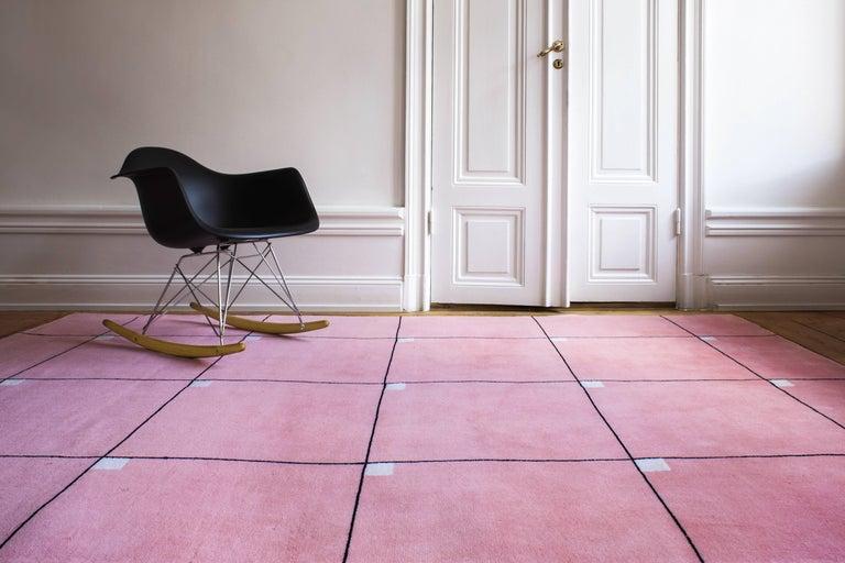 Hand-Woven Modern Pink, Wool Cut Pile Rug in Scandinavian Design For Sale