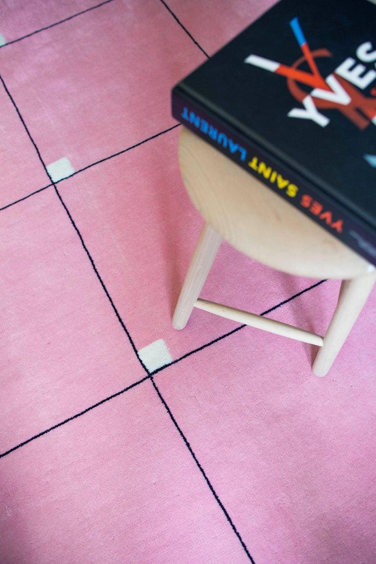 Indian Modern Pink, Wool Cut Pile Rug in Scandinavian Design For Sale