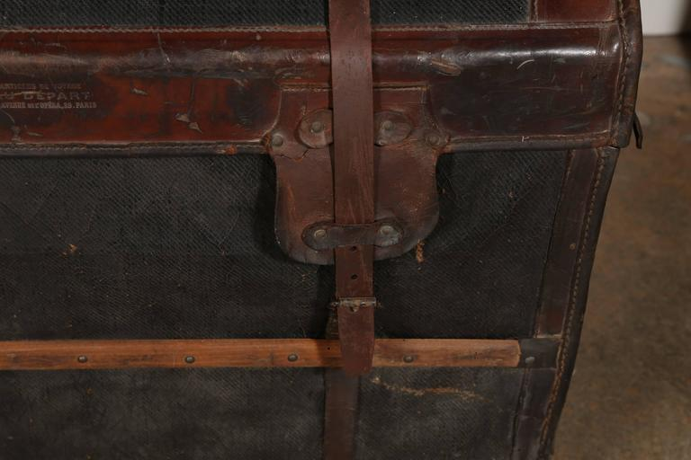 French Au Depart Leather Trunk For Sale