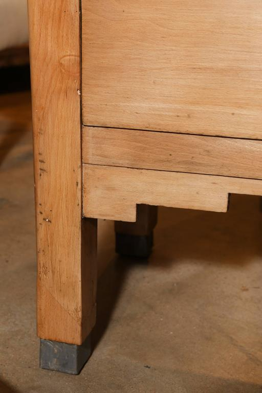 French Butcher Block With Zinc Lined Drawer For Sale At