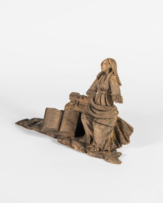 French Hand-Carved 'Lady with Book' Architectural Element For Sale