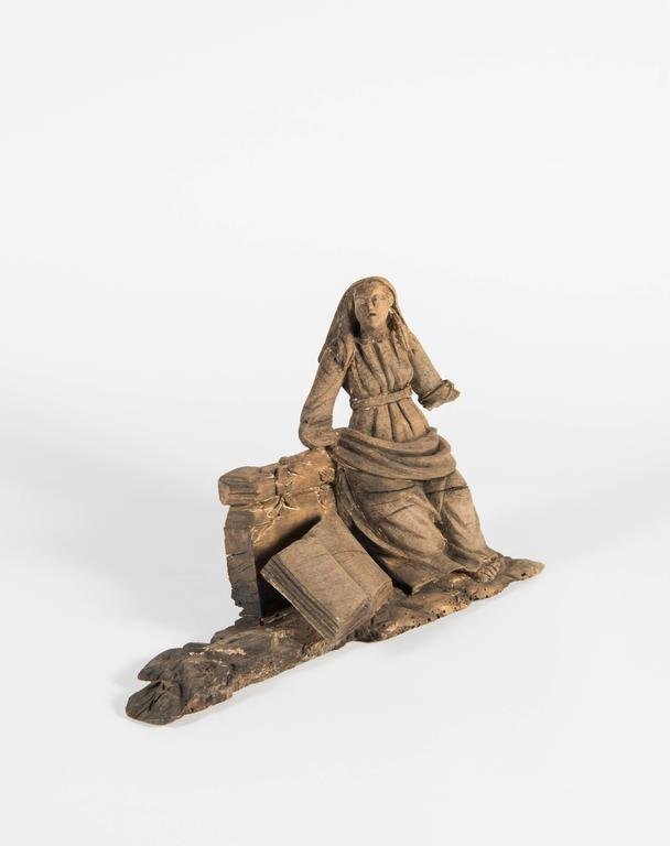 Hand-Carved 'Lady with Book' Architectural Element In Distressed Condition For Sale In Houston, TX