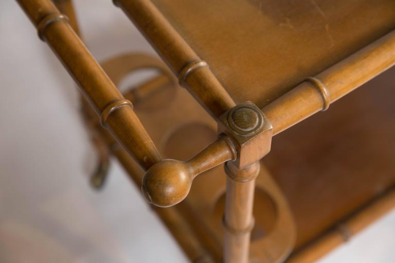 French Faux Bamboo Bar Cart For Sale