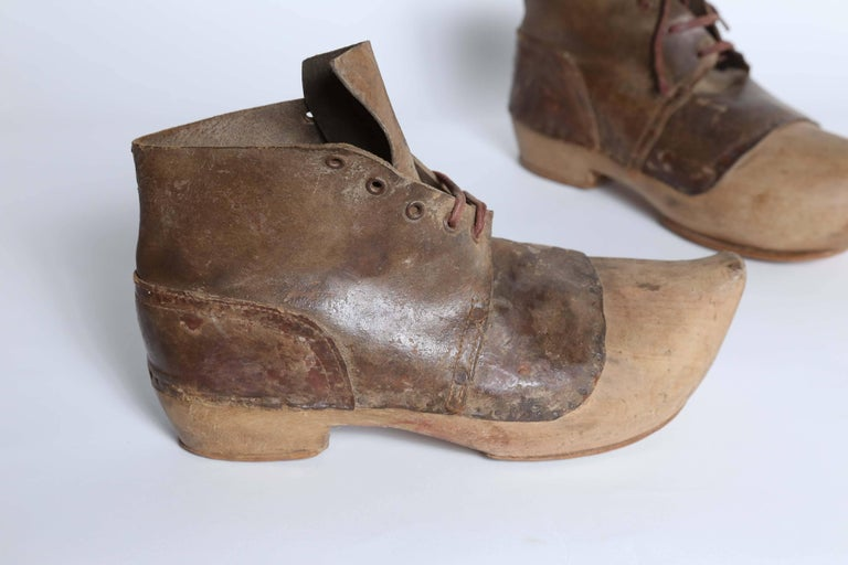 French Pair of Old Wooden Shoes For Sale