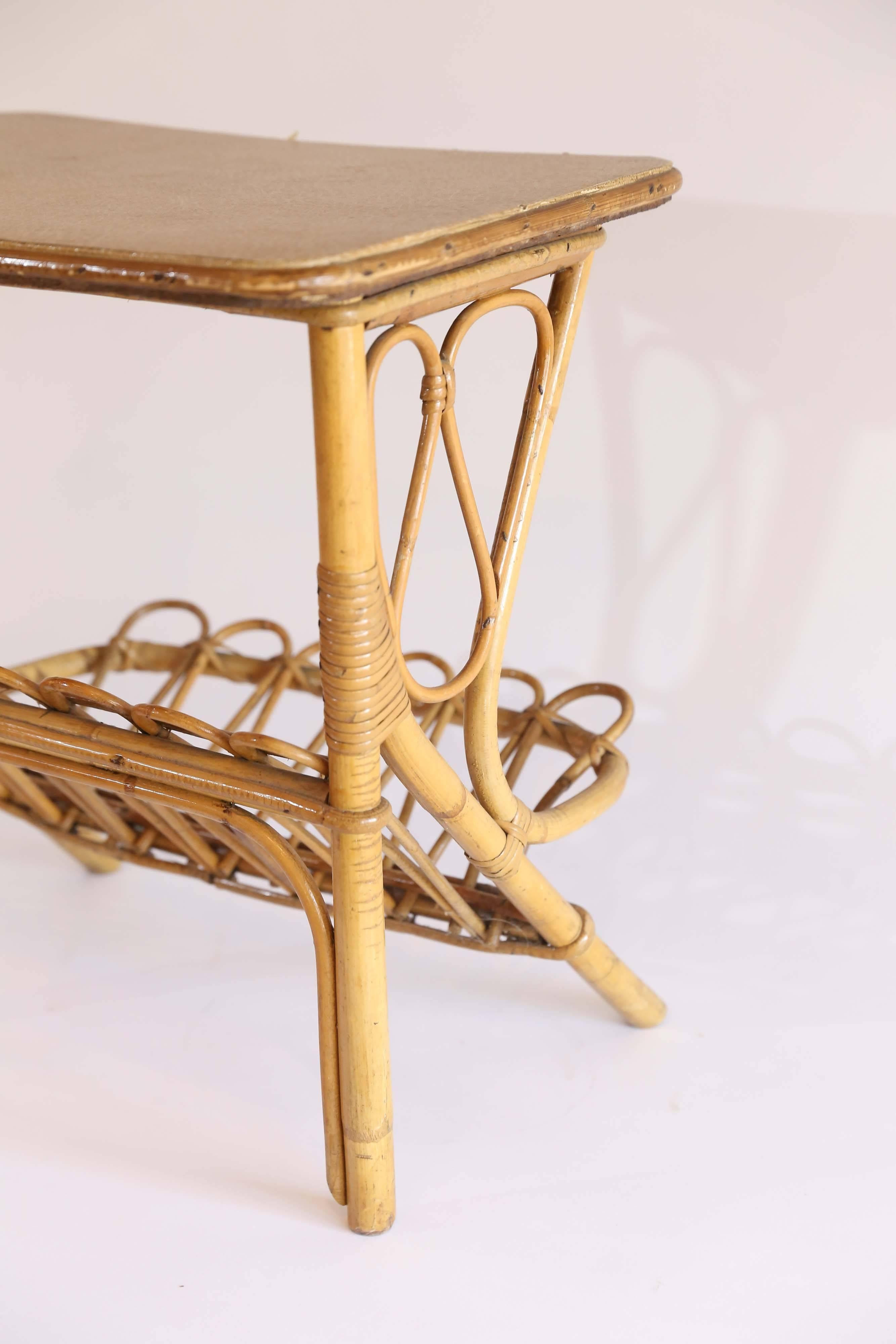 Mid Century Rattan Modern Bamboo Wood Magazine Rack Side Table Furniture Antiques