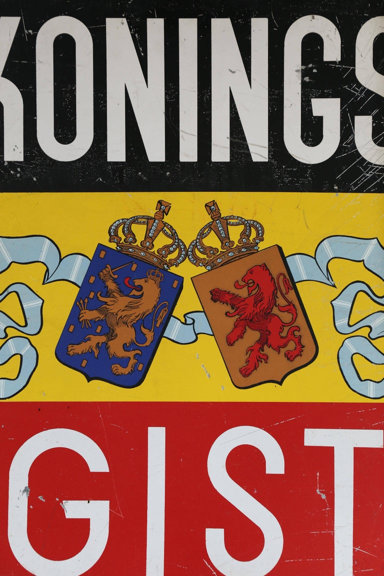 A tin sign from The Netherlands advertising Kings Yeast. The symbolic Lion of the Dutch Republic is also the trade mark of this iconic product. Fun for the right kitchen or in a retail bakery or shop.