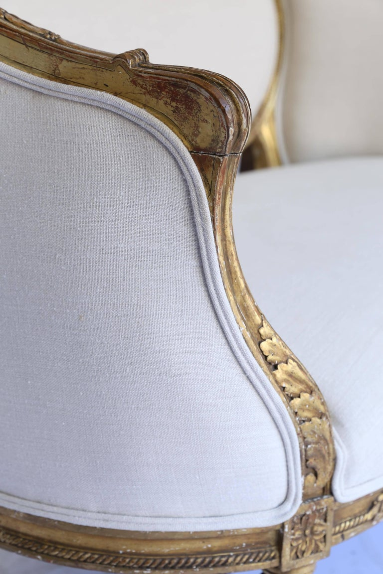 19th Century Louis XVI French Settee, Newly Upholstered For Sale 1