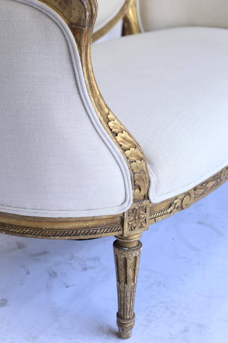 19th Century Louis XVI French Settee, Newly Upholstered In Good Condition For Sale In Houston, TX