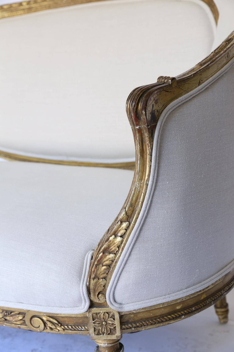 19th Century Louis XVI French Settee, Newly Upholstered For Sale 2