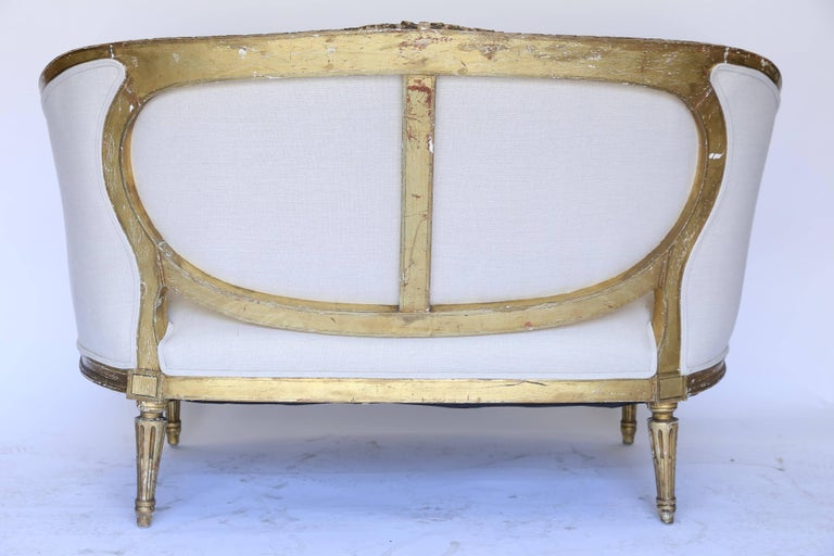 19th Century Louis XVI French Settee, Newly Upholstered For Sale 4