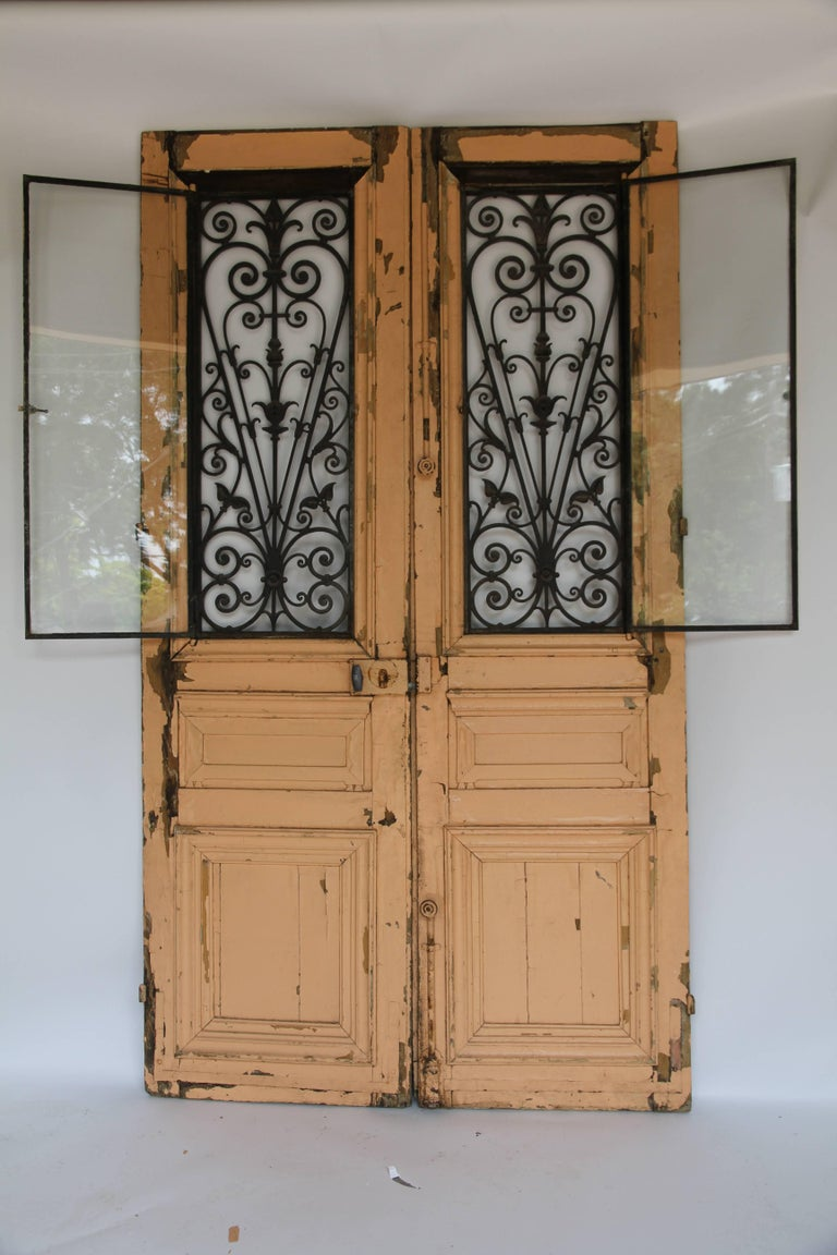 Antique French Doors with Iron and Glass Panels For Sale 9 - Antique French Doors With Iron And Glass Panels For Sale At 1stdibs