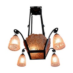 Petitot / Noverdy French Art Deco Chandelier, Late 1920s