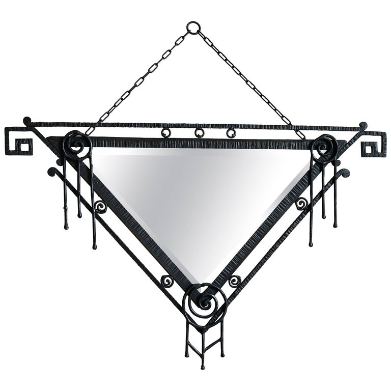 French Art Deco Wrought-Iron Wall Mirror, Late 1920s