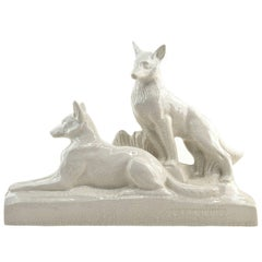 Levallois French Art Deco Ceramic German Shepherds, 1930