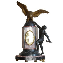 French Art Deco Eagle Mantle Clock, 1925