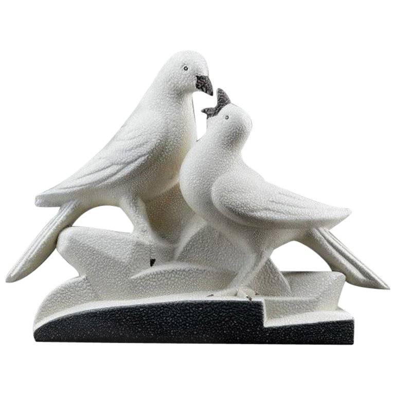 Sainte-Radegonde French Art Deco Ceramic Pigeons, circa 1935