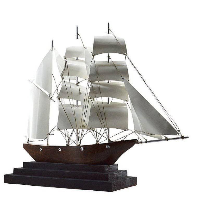 Large French Art Deco Three-Master Ship Model, 1930s