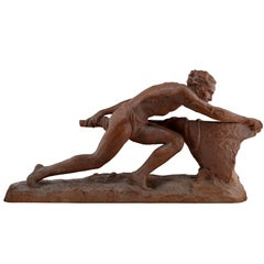 Ugo Cipriani French Large Art Deco Terracotta Sculpture, 1930s