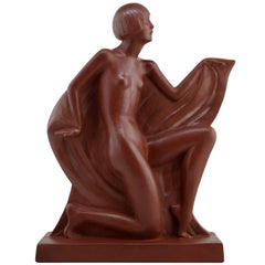 Lady Terracotta Sculpture by Genevieve Ganger, Marcel Guillard & Edmond Etling