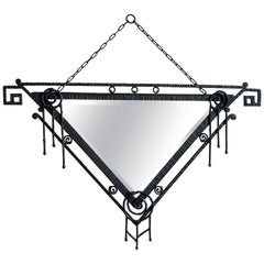French Art Deco Wrought Iron Wall Mirror, Late 1920s