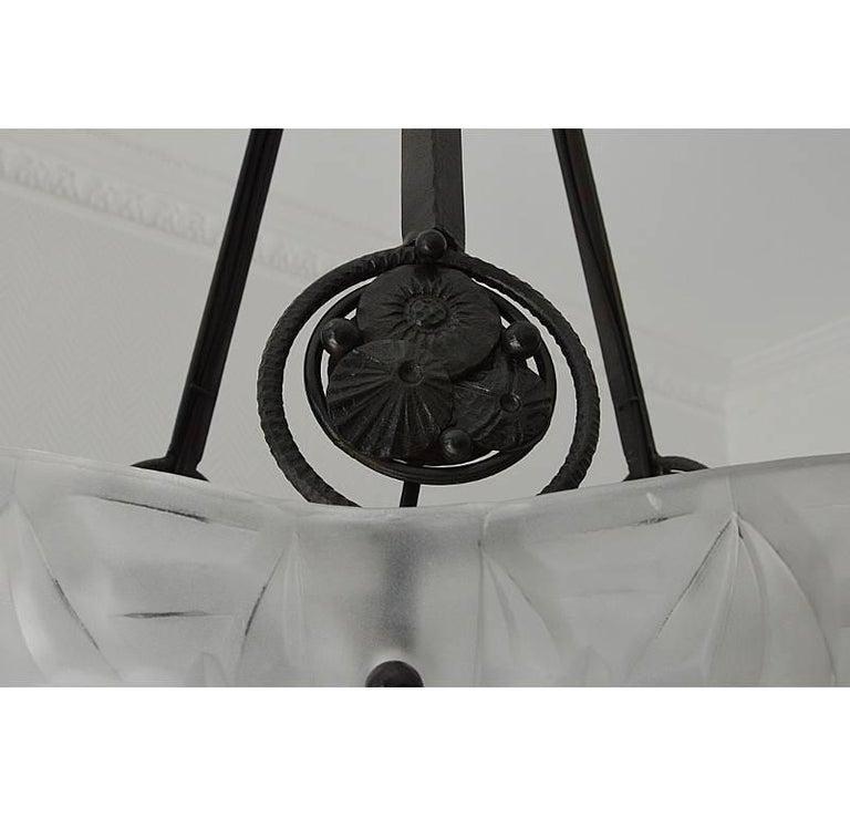Edouard Cazaux at Degue Vasseur French Art Deco Pendant Chandelier, 1930 For Sale 2