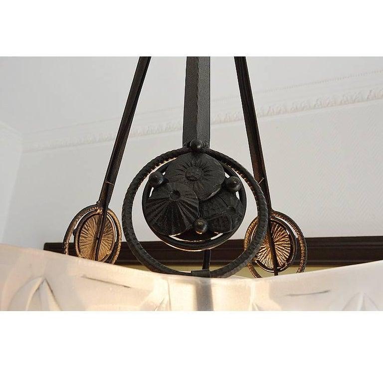 Edouard Cazaux at Degue Vasseur French Art Deco Pendant Chandelier, 1930 For Sale 3
