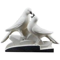 Sainte-Radegonde French Art Deco Ceramic Pigeons, circa 1935