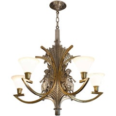 Petitot French Art Deco Bronze God Pan Chandelier, 1930