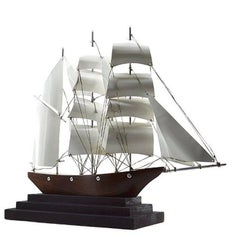 Large French Art Deco Three-Master Ship Model, 1930s