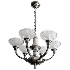 Petitot Large French Art Deco Chandelier, 1930