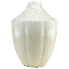 French Art Deco Crackle Glaze Ceramic Vase, 1920s