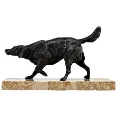 Spaniel Sculpture by Maximilien Fiot, Early 20th Century